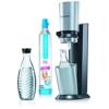 SodaStream Wassersprudler Crystal  (mit 1 x CO2-Zylinder 60L und 2 x 0,6L Glaskaraffen) Titan/Silber -