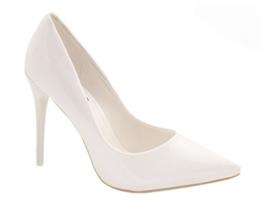 Elara Spitze Damen Pumps | Bequeme Lack Stilettos | Elegante High Heels Größe 38, Farbe Weiss Pearl -