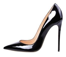 Guoar High Heels Damenchuhe Große Größe Pumps Einfach Stil Spitze Zehen Hand gemacht Stiletto Büro-Dame Party Hochzeit Schwarz EU41 -