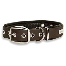 PetTec Hundehalsband aus TrioflexTM mit Polsterung, Braun, Wetterfest, Wasserabweisend, Robust -