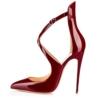 uBeauty Damen High Heels Cross Strap Klassische Pumps Geschlossene Spitze Zehen Übergröße Schuhe Rot 38.5 EU -