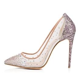 uBeauty Damen High Heels Stilettos Spitze Zehenkappe Elegante Pumps Hochzeit Tanzen Mesh Lady Schuhe Silber 41 EU -