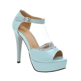 YE Damen Peep Toe High Heels Ankle Strap Stiletto Plateau Glitzer Pumps mit Roter Sohle Strass Sandalen -