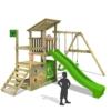 FATMOOSE Klettergerüst FruityForest Fun XXL Spielturm Kletterturm Beach-House auf 3 Ebenen schrägem Holzdach, Schaukel mit 2 Sitzen, Rutsche und viel Zubehör -