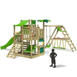 FATMOOSE Spielturm BananaBeach Kletterturm Baumhaus mit Schaukel, Rutsche und Surfanbau -