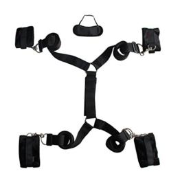 Bondage-Fesseln, Paloqueth Bettfessel mit Augenmaske (schwarz) -