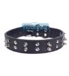 Hundehalsband PU Leder Noblesse, schwarz und verziert mit Spikes und Nieten, Länge 53cm -