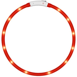 LED-Haustier-Hundehalsband, Dland Led USB aufladbare Haustier-Sicherheits-Kragen Visible 500 Meter Wasserdicht Light up der L?nge verstellbar Flashing Collar(rote) -