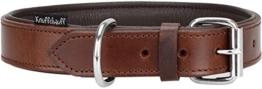 Knuffelwuff Weiches Lederhalsband Hund Hundehalsband Basic Plus Braun L 36-45 cm -