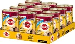 Pedigree Adult Hundefutter 3 Sorten Fleisch, 12 Dosen (12 x 400 g) -