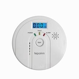 Tepoinn Kohlenmonoxid Detektor CO Alarm Rauch und Alarm mit Digital Display Elektrochemische CO Sensor, Digitale Anzeige, Stimme Warnung, und Batterie Backup -