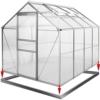 Aluminium Gewächshaus Alu 7,63m³ M3 250x190x195 cm + Stahlfundament Fundament Treibhaus Gartenhaus Frühbeet Pflanzenhaus Aufzucht -