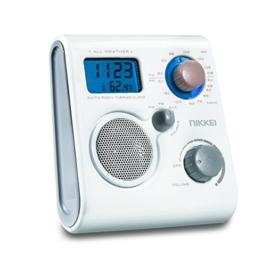 Nikkei NWP10WE wasserdichtes Duschradio UKW/MW mit Uhrzeit, Wecker und Temperaturanzeige weiß -