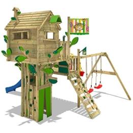 WICKEY Baumhaus Smart Treetop Kletterturm Spielturm mit Rutsche, Doppelschaukel und vielen Klettermöglichkeiten -