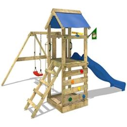 WICKEY Spielturm FreeFlyer Kletterturm mit Rutsche Schaukel Sandkasten Kletterwand Sandkasten, blaue Dachplane + blaue Rutsche -