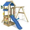 WICKEY Spielturm FreshFlyer Kletterturm mit Sandkasten Kletterwand Strickleiter Schaukel und Rutsche Podesthöhe 90cm -